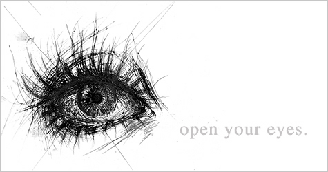 line drawing [ open your eyes. ]
